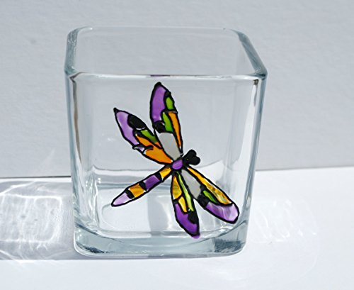 Purple Dragonfly Stained Glass Square Hand Painted Candle (Ambiance Candle Holder)