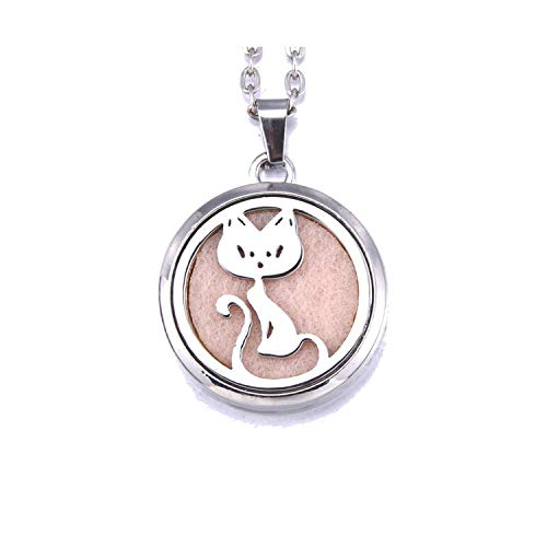 - Aromatherapy Pendant Necklace Perfume Diffuse Jewelry Essential Oil Diffuser Open Locket with 1 Pcs Pad Women Men Necklace,I