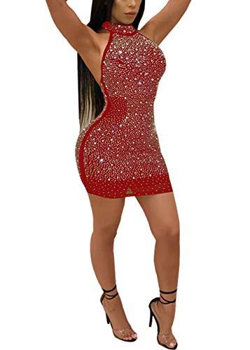 Nhicdns Women Sexy Bodycon Sleeveless Diamonds Mesh Halter Beaded Rhinestones Backless Clubwear Party Mini Dress ()