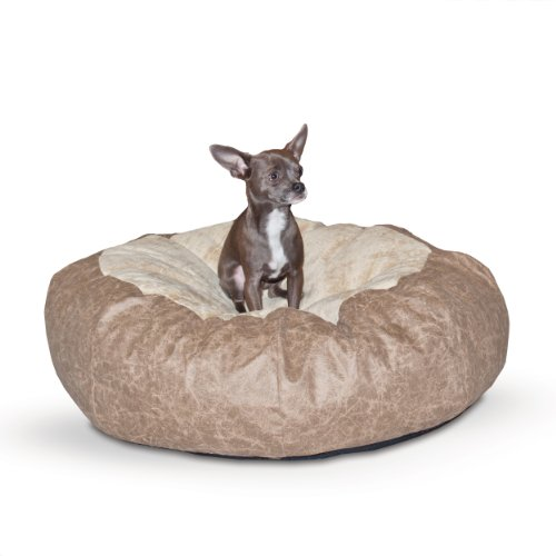 UPC 655199075065, K&H Manufacturing Self Warming Distress Cuddle Ball Bed for Dogs, Small, Tan
