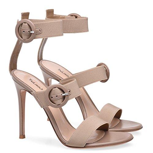 Zapatos De Tacón Max a Eu46 Hebilla Partido Las La Bombas Estilete Clover gray Señoras eu37 Alto Mujeres Lucky Sandalias Talón Plataforma Del Altos t6AwnT