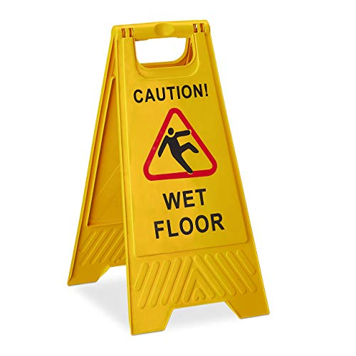 Relaxdays Warning Sign Caution Wet Floor 2 Sided Writing Foldable Yellow