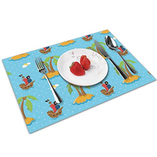 - MNBVC Cartoon Pirate Ship Coco Placemats Set of 4 for Dining Table Washable Woven Vinyl Placemat Non-Slip Heat Resistant Kitchen Table Mats Easy to Clean