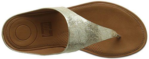 Metallic con Mujer Abierta II Gold Sandals 537 Toe Banda Fitflop Metallic Dorado Punta Thong Sandalias para wxCP0Xnqf