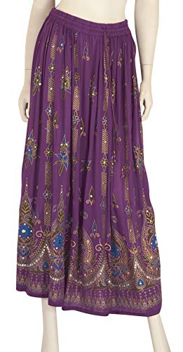 - Indian Long Skirts with Sequins & Embroidered Designs (IND#9603) (Purple)
