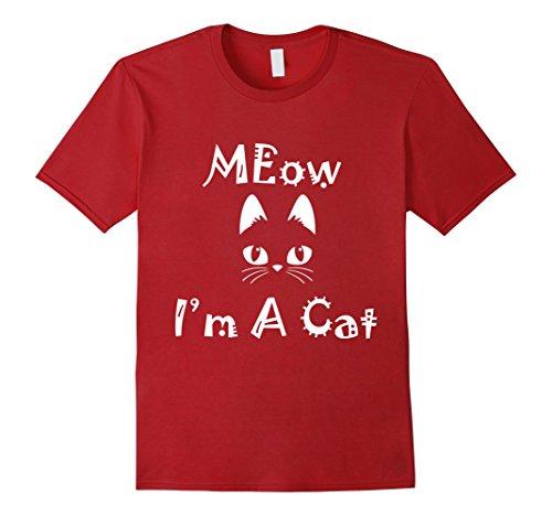 Grumpy Cat Costume Amazon (Mens Meow I'm A Cat T Shirt Tee Happy Halloween Costume Cat Meow 2XL Cranberry)