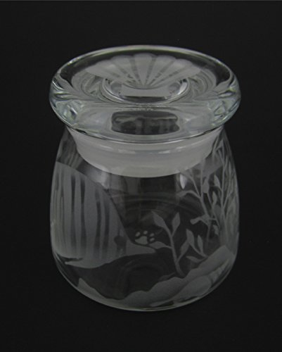 [Hand Etched Vibe Storage Jar Sandblasted (Sand Carved) Glass Handmade USA Custom (4.5 Ounce (133ml), Tropical Fish Sea Shell Seaweed)] (Az Tropical Fish)
