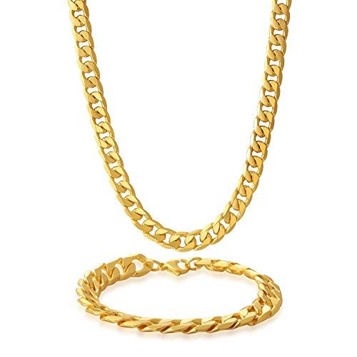 Potok 8 mm Stainless Steel Beveled Cuban Curb Link Italian Chain Mens Necklace Bracelet Set Golden (Curb Chain Bracelet Beveled)