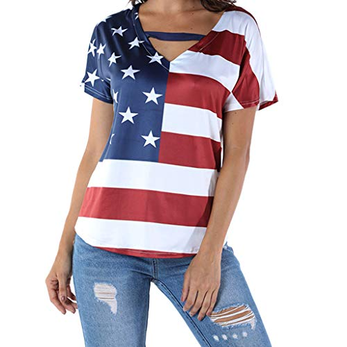 Women Plus Size Tops for for 4th of July Star Stripe USA Flag Loose Blouse America Patriotic Summer T-Shirt Red