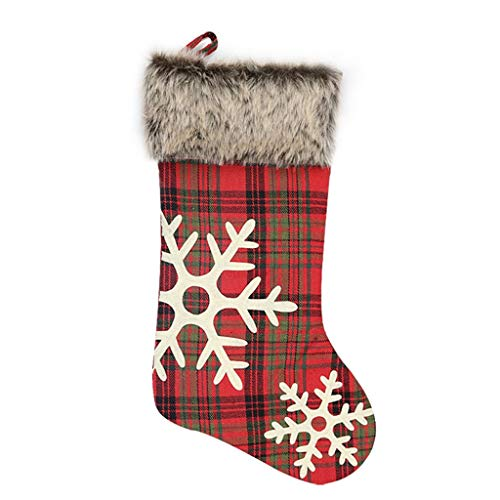 Ranoff Christmas Stockings 18 inches with Large Plaid Snowflake Stockings for Candy -