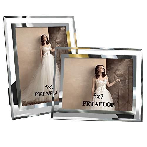 PETAFLOP 5x7 Glass Picture Frames Perfect for Family Office Table Decorations, Set of 2