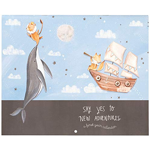 C.R. Gibson ''Say Yes to New Adventure'' Nautical Baby's First Year Calendar for Boys, 32 Pages, 11'' x 18''