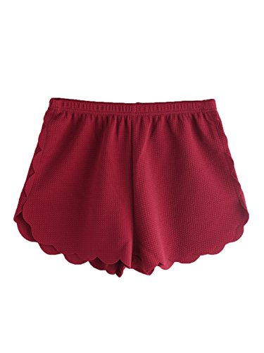 MAKEMECHIC Women's Solid Elastic Waist Scalloped Casual Fitted Shorts Burgundy S ()