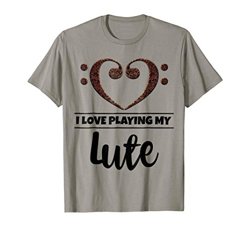 Double Bass Clef Heart I Love Playing My Lute Music Lover T-Shirt