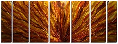 Statements2000 Abstract Autumn Painted Earthtones Large 3D Metal Wall Art Panels Hanging Sculpture by Jon Allen, Gold Amber, 68 x 24 – Fall Plumage