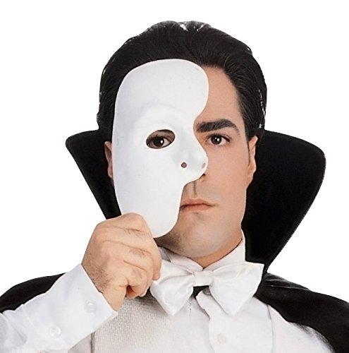 Phantom Of Opera Halloween Costume (Rubie's Costume Co Men's Phantom Of The Opera Mask, White, One Size)