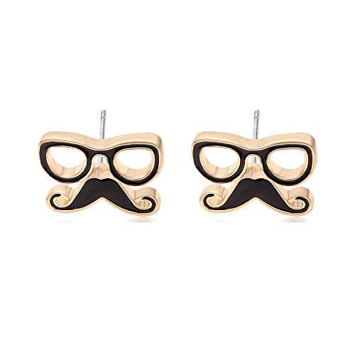 GUANDU Adorable Eyeglass Combine with Cute Mustache Stud Earring for Girls Teens Adults Birthday Gifts