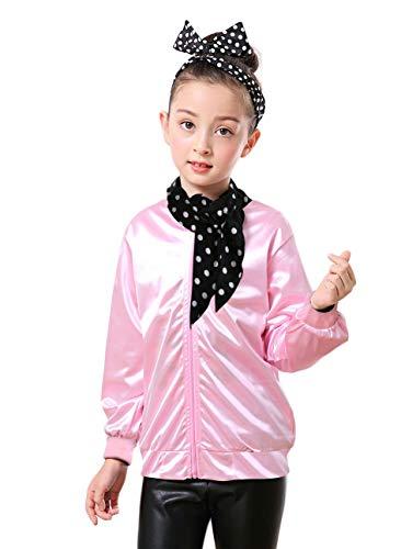 Dancing Stone 1950s Girls' Grease Pink Ladies Jacket Halloween Costume (L, Pink)
