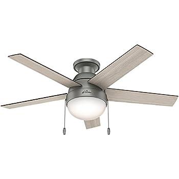 "Hunter 59270 Anslee Low Profile Matte Silver Ceiling Fan With Light, 46"""