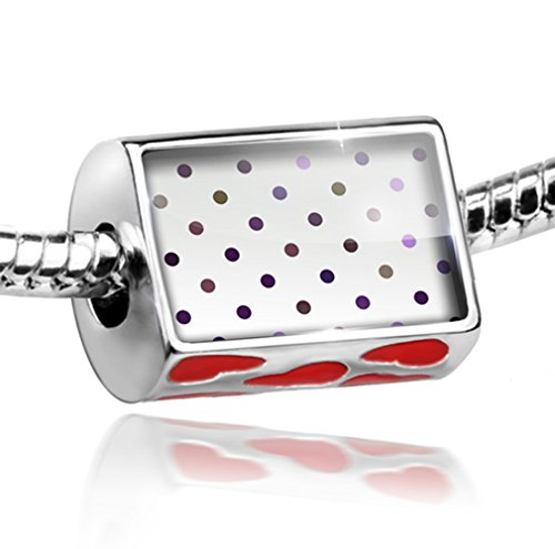 Bead with Hearts White dotted pattern - Charm Fit All European Bracelets, Neonb