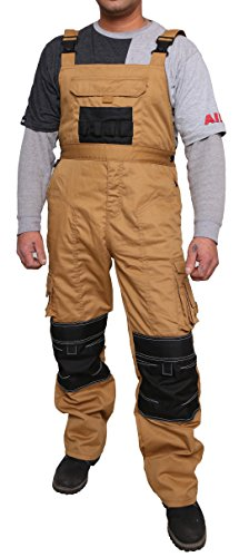 Qaswa Bib and Brace Overall Mens Working Dungaree Work Trousers Worker Pants Khaki