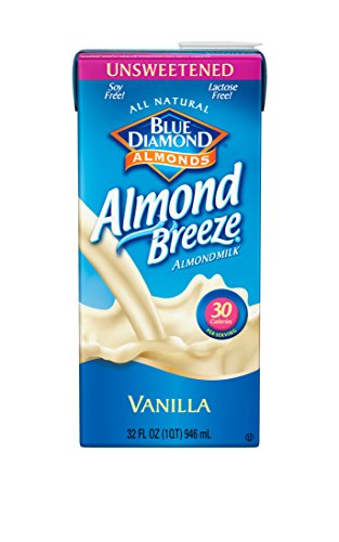 Almond Breeze Almondmilk, Unsweetened Vanilla, 32 Ounce (Pack of 12)
