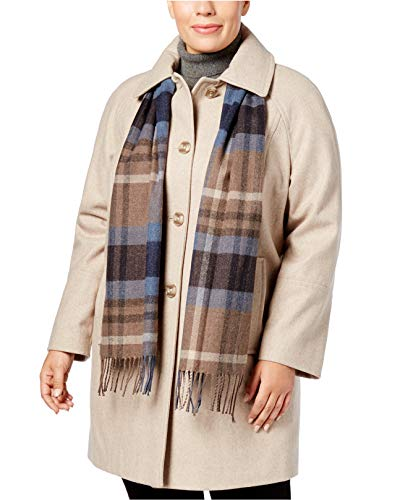 (London Fog Women's Wool Coat With Scarf Oatmeal 2X)