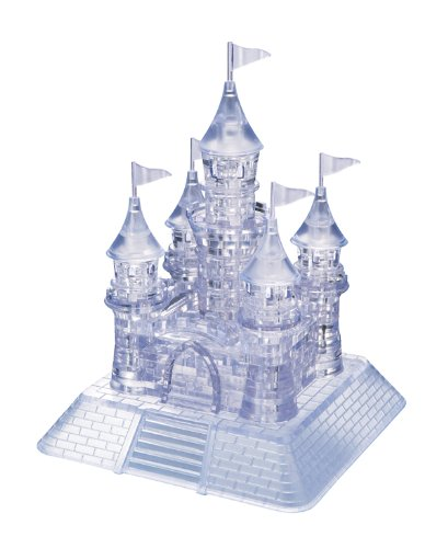 Bepuzzled Original 3D Crystal Puzzle Deluxe - Castle, Clear - Fun yet challenging brain teaser that will test your skills and imagination, For Ages 12+