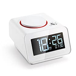 Homtime Alarm Clock for Bedroom with Dual USB Charger Ports for Phone Digital Clock Dimmable Snooze White(with AC Adapter)