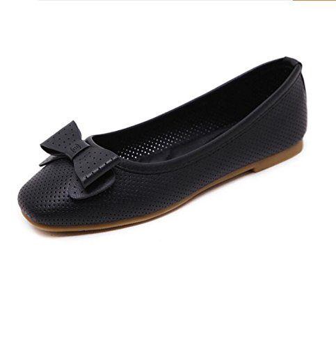 Bottom With Bow Shoes Women'S Singles Shoes 37 Shoes KHSKX And Flat Shoes Soft Versatile Women'S Beans Square Tie Comfortable Soy Flat A Black wtdqd4WUR