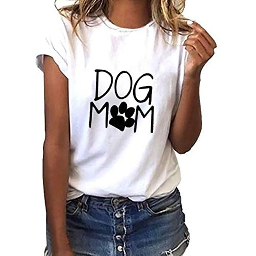 AgrinTol Womens Tops Loose Short-Sleeved Dog Mom Print T-Shirt Casual O-Neck Top 2019 ()