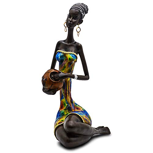 Statue African Figurine Sculpture Colorfull Dress Sitting Down Lady Figurine Holding Vase Statue Decor Collectible Art Piece 15.5