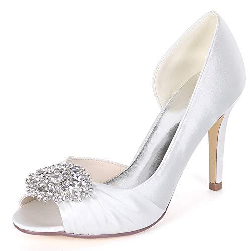 Rhinestones Boda Toe High Zapatos SatéN Las Espumosa 9cm Heels Peep YC Plataforma De L De Satin Mujeres Low White w74xvq