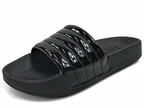 Slides Sandal Flat Wells Comfort Women's Slip Willow Collection Patent Black Soft On fqxgOYzqw