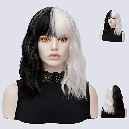 Short Wigs For Halloween Cosplay Women Straight Synthetic Hair Wig Black White 2 Tones Patchwork #1 14inches ()