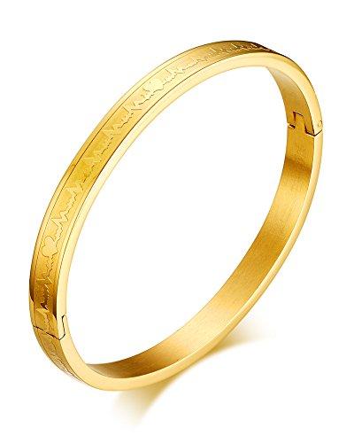 Stainless Gold Heartbeat Lifeline Bracelet - 2