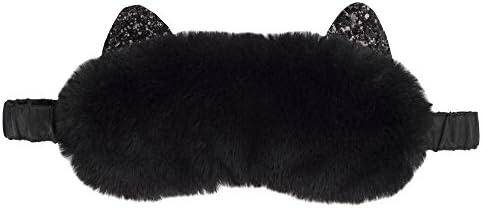 Vivid Hue Damen-Schlafmaske, Plüsch-Katze, Augenbinde für Reisen, Nickerchen