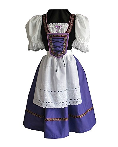 Womens Plus Size Bavarian Girl Costumes (Fashion Queen Women's Halloween Beer Girl Bar Bavarian Maid Oktoberfest Costume (Small, Purple))