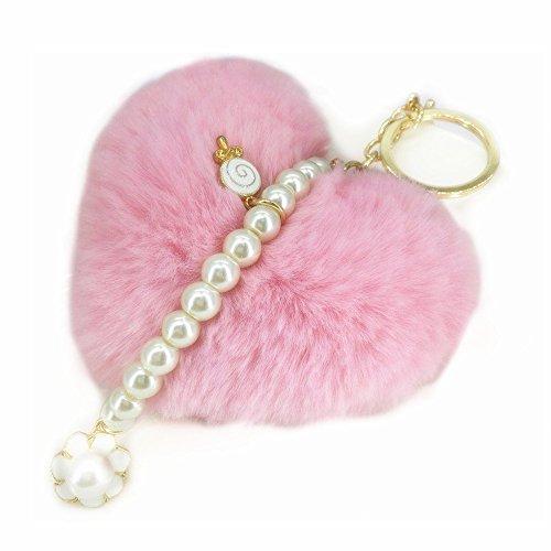 Keychain Ball Shaped - Heart Shaped Keychains Pom Pom keychain with Pearl Hanging