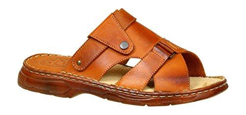 Lukpol Herren Bequeme Sandalen Schuhe mit der Orthopadischen Einlage Aus Echtem Buffelleder Hausschuhe Modell 876 Kognak