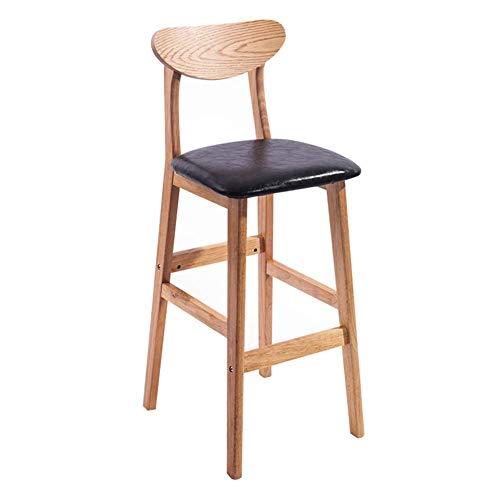 JIEER-C Ocio sillas Taburete de Bar Madera Maciza PU Asiento Respaldo Taburete Alto Desayuno Comedor Silla Simple Retro Sentado Altura Durable Fuerte