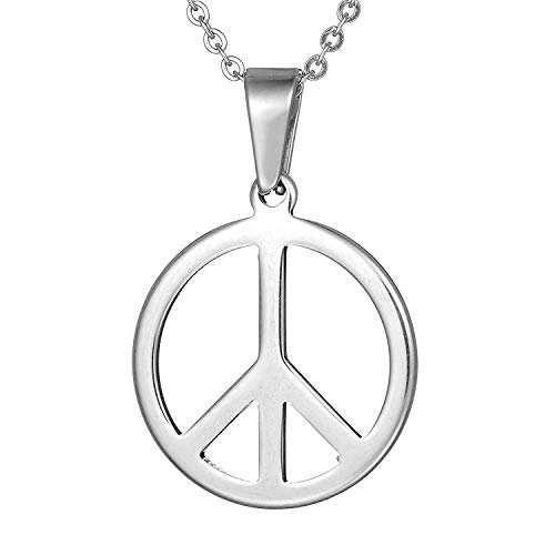 CNZONE Peace Sign Pendant Necklace Men Women Stainless Steel Jewelry Gift