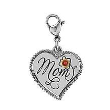 Esty & Me Stainless Steel Mom Dangle Heart Charm w/Swarovski Birthstone
