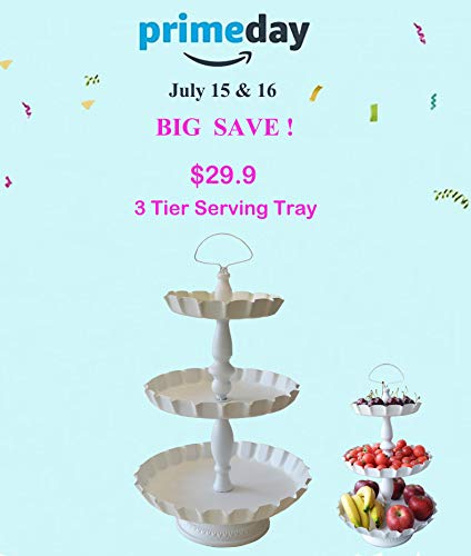 ShabbyDecor Metal 3 Tier Serving Tray Decorative Display Serving Stand,White Color from ShabbyDecor
