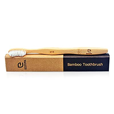 Biodegradable Bamboo Toothbrush | Eco-Friendly | Medium-Soft Bristles | Organic, Vegan, BPA Free | Pack of 4 - by ECOTOPIA