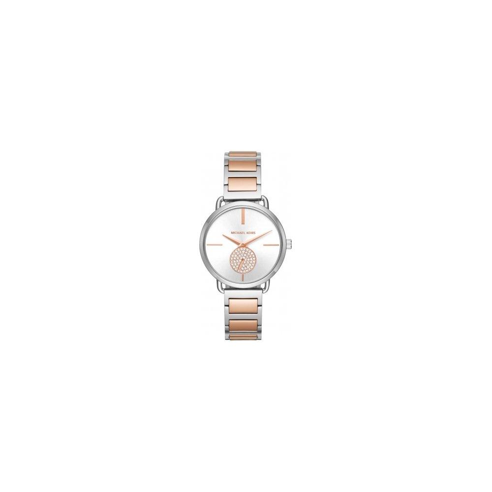 Michael Kors Portia Silver Dial Two Tone Watch MK3709