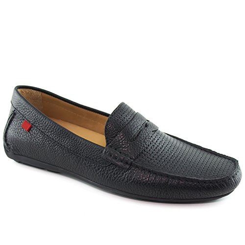 Marc Joseph New York Mens Leather Union Street Driver Driving Style Loafer, Black Grainy Perforated, 10 D(M) US