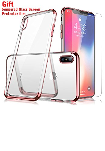 iPhone X Case, Crystal Clear Soft Cover Electroplated Frame Ultra Slim TPU Gel Case Clear Back&Rose Frame for Apple iPhone X