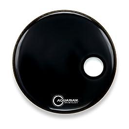 Aquarian Drumheads SMPTCC16BBK Offset Ported Bass 16-inch Bass Drum Head, gloss black