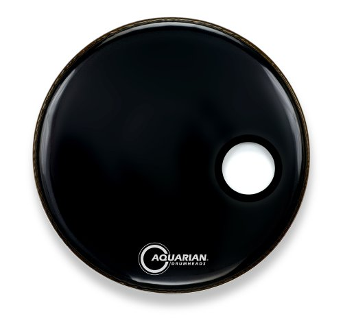 Aquarian Drumheads SMPTCC16BBK Offset Ported Bass 16-inch Bass Drum Head, gloss black by Aquarian Drumheads
